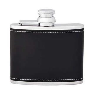 Pall Mall Black Leather Hip Flask 6oz | Pall Mall Barbers Kings Cross